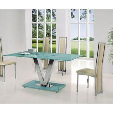 Venus Large Frosted Glass Dining Table Only