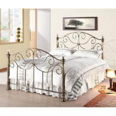 Victoria Antique Brass Metal King Size Bed With Crystal Finials