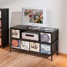 Virando Vintage Style Metal Finish LCD TV Stand With 6 Drawers