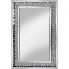 Rosalie Wall Mirror In Silver With Glass Crystals Border