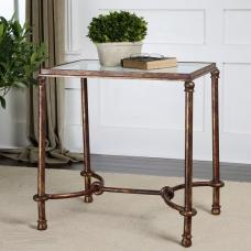 Mannington End Table In Clear Glass With Metal Frame