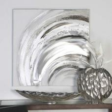 Wave Oil Painting Wall Art Square In Canvas Wood And Metal