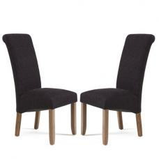 Ameera Dining Chair In Plain Aubergine Fabric Walnut in A Pair