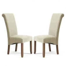 Ameera Dining Chair In Plain Sage Fabric And Walnut in A Pair
