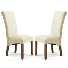 Ameera Dining Chair In Floral Cream Fabric And Walnut in A Pair