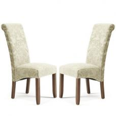 Ameera Dining Chair In Floral Sage Fabric And Walnut in A Pair