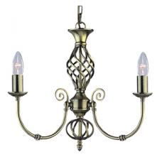 Zanzibar Antique Brass 3Light Fitting With Ornate Twisted Column