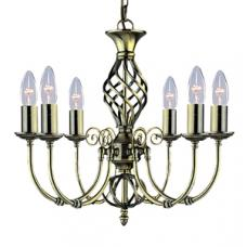 Zanzibar Antique Brass 6Light Fitting With Ornate Twisted Column