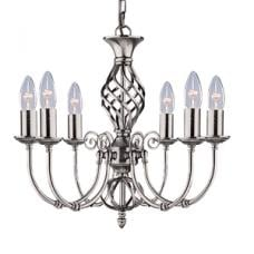 Zanzibar 6 Lamp Satin Silver Ceiling Light