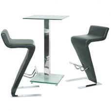 Spice Clear Glass Bar Table With 2 Farello Bar Stool In Grey