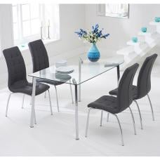 Abbey Glass Dining Table In Clear With 4 Gala Grey Chairs