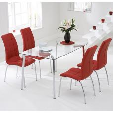 Abbey Glass Dining Table In Clear With 4 Gala Red Chairs
