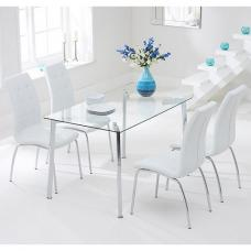 Abbey Glass Dining Table In Clear With 4 Gala White Chairs