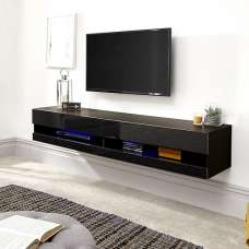 Abril Wall Mounted Medium TV Wall Unit In Black Gloss And LED