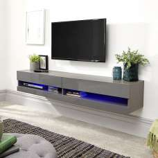 Abril Wall Mounted TV Stand In Grey Gloss With LED Lighting