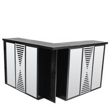 Acadia Mirrored Folding Bar Unit In Black High Gloss