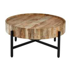 Acton Wooden Coffee Table Round In Natural With Black Iron Legs