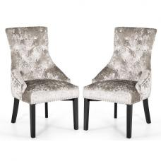 Acton Dining Chair In Crushed Velvet Silver In A Pair