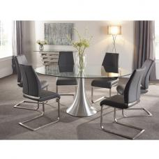 Adana Glass Dining Table Oval In Clear With 6 Dawlish Chairs