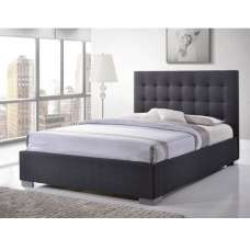 Addison Fabric King Size Bed In Grey With Chrome Feet