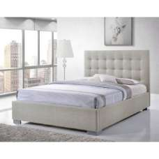 Addison Fabric King Size Bed In Sand With Chrome Feet