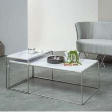 Adelaide Marble Effect Coffee Table Set In White And Steel Frame