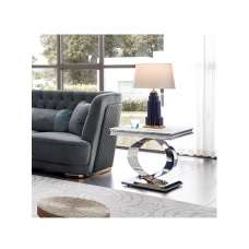 Adelene Marble Lamp Table In White With Polished Metal Legs