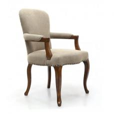 Adelene Carver Chair In Natural Linen Style Fabric With Arms
