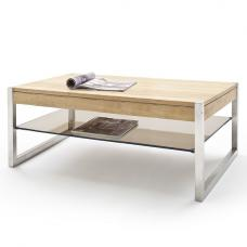 Adelia Coffee Table Rectangular In Solid Oak With Metal Legs