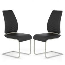 Adene Dining Chair In Black Faux Leather In A Pair