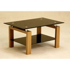 Adina Black Glass Coffee Table With Undershelf And Oak Legs