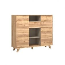 Aiden Wooden Chest Of Drawers In Navarra Oak And Stone Grey