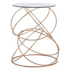 Alamon Glass Side Table In Clear With Circular Rosegold Frame