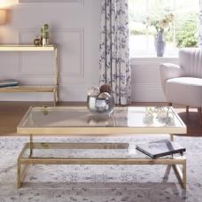 Alana Glass Coffee Table Rectangular In Clear With Gold Frame