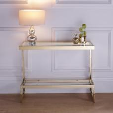 Alana Glass Console Table Rectangular In Clear With Gold Frame