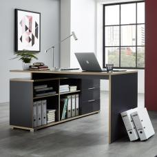 Alantra Wooden Corner Computer Desk In Anthracite With Storage