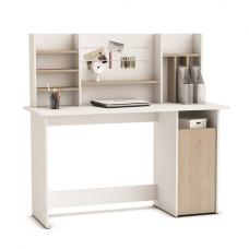 Alanya Wooden Computer Desk In Brushed Oak And Pearl White