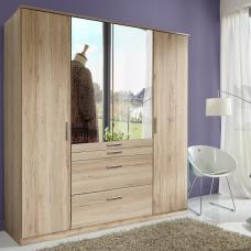 Alberta Mirrored Wardrobe In San Remo Oak Effect With 4 Doors