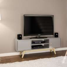 Albury Wooden TV Stand In Grey With 2 Drawers