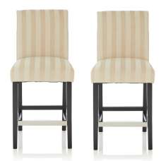 Alden Bar Stools In Cream Fabric And Black Legs In A Pair