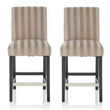 Alden Bar Stools In Silver Fabric And Black Legs In A Pair