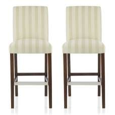 Alden Bar Stools In Cream Fabric And Walnut Legs In A Pair