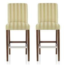 Alden Bar Stools In Oatmeal Fabric And Walnut Legs In A Pair