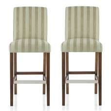 Alden Bar Stools In Sage Fabric And Walnut Legs In A Pair