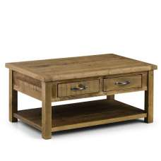 Alecia Wooden Coffee Table In Rough Sawn Pine With 2 Drawers