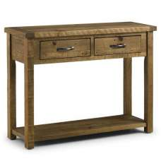Alecia Wooden Console Table In Rough Sawn Pine With 2 Drawers