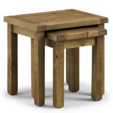 Alecia Wooden Nest Of 3 Tables In Rough Sawn Pine