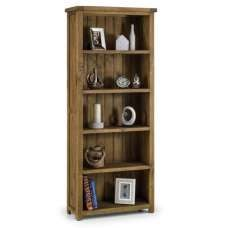 Alecia Wooden Tall Bookcase In Rough Sawn Pine