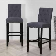Alessio Bar Stools In Grey With Wooden Legs In A Pair