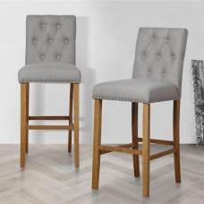 Alessio Bar Stools In Wheat With Wooden Legs In A Pair